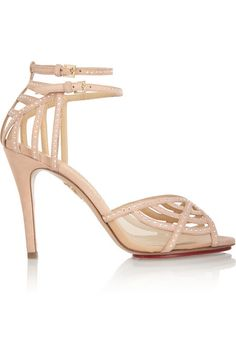 Charlotte OlympiaOctavia Swarovski crystal-embellished suede sandals $1,395  The spider web is a Charlotte Olympia signature - these 'Octavia' sandals create the motif from soft blush suede and mesh embellished with sparkling Swarovski crystals.