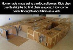 Cardboard maze - oh my gosh this looks so fun!!