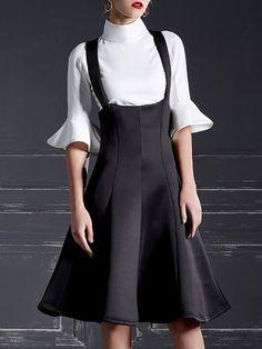 Black Ruffled Vintage Midi Overall Dress