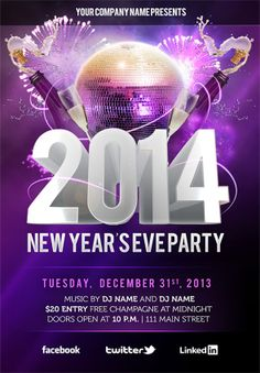 New Year Flyer Template PSD 2 #newyear2014 #psdflyers #flyertemplates #photoshopflyers #graphicdesign