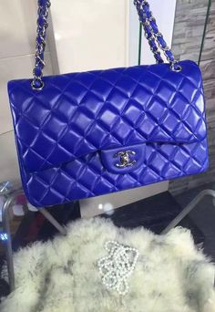 Chanel Jumbo Classic Flap Bag in Royal Blue Lambskin with silver hardware sale at USD 348.  Free International Shipping.  View details on http://www.luxtime.su/chanel-bags