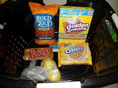 Gift Basket For A Golden Birthday Snacks With Gold In The Name Or Packaging My Husband Loved It