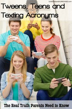 Are you concerned about what your child may be sharing via text? Do you know the real stats when it comes to tweens, teens and sexting? Do you need tools to help you navigate this part of parenting and technology? We've got the answers and the solutions you are looking for and some of them might surprise you. What Parents Need to Know About Tweens, Teens and Texting Acronyms. SunshineandHurricanes.com