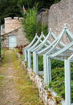 Yewbarrow House Gardens, Cumbria - The Kitchen Garden With Blue Cloches
