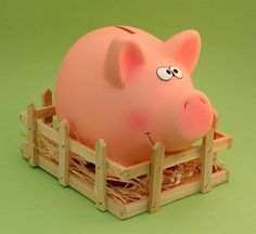 """""""Pig in Sty"""" Piggy Bank ~ * M Y * P I G G Y * C O L L E C T I O N * Penny Bank, Pig Pig, Piggy Banks, Money In The Bank, Pig Party, Piglets, Farm Theme, Cutest Animals, Money Box"""