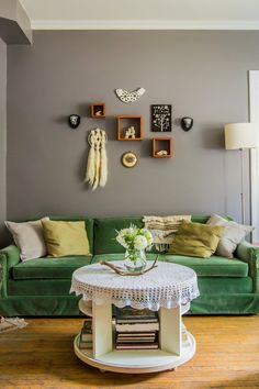I need a velvet couch.....Lisa's Pint-Size Storybook Nook — House Tour | Apartment Therapy