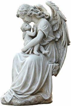 Angel with baby outdoor statue