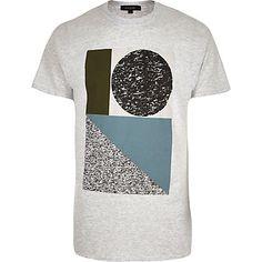 Grey abstract shape print t-shirt