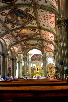 interior of San Juan Bautista church, Coyoacán, Mexico