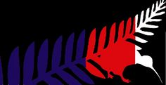 New Zealand Flag by Ashley Pye, tagged with: Black, Blue, Red, White, Fern, Kiwi, Nature.