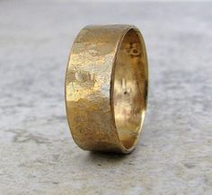 Hammered Brass Band Distressed Wedding Ring Rustic Mens Wedding Band- Relic Artifact