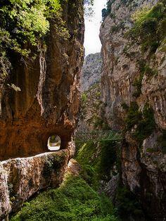 Ruta de senderismo en el interior del cañón del Río Cares en Asturias, España