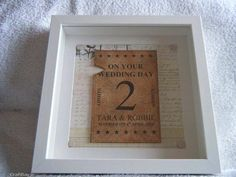 Handmade personalised framed wedding gift. Add couples names, date of wedding and colour theme.