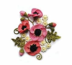 Crocheted poppies motif
