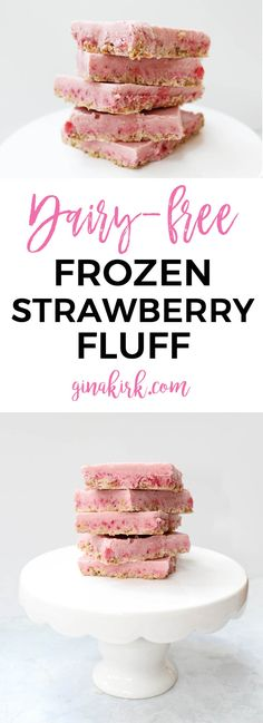 This frozen strawberry dessert recipe is a gluten free dairy free frozen treat! It's a delicious summer strawberry dessert idea. Give your family this fabulous treat for their next snack. Frozen Strawberry Desserts, Strawberry Fluff, Frozen Strawberries, Strawberry Recipes, Frozen Desserts, Fruit Recipes, Fun Desserts, Delicious Desserts, Deserts