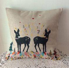 "1PCS 17"" x 17"" Vintage Leaves Deers Cotton Linen Sofa Decoration Car Decoration Throw Pillow Cushion Cover For Home Decor on Etsy, $16.51 AUD"