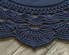 Round area rug 59 in crochet rug crochet decor doily rug Crochet Rug Patterns, Crochet Stitches, Rag Rug Tutorial, Doily Rug, Faux Fur Rug, Fluffy Rug, Round Area Rugs, Crochet Home, Rugs On Carpet