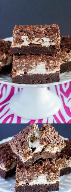 These Marshmallow Fudge Crunch Brownies from Back For Seconds are rich and gooey with a crunchy peanut butter and chocolate topping. They are the best dessert for potlucks, picnics, and parties!