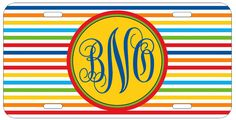 Personalized Monogrammed Striped Rainbow Colors License Plate Custom Car L091