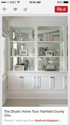 Bookcase, mirror