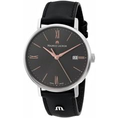 Maurice Lacroix Eliros Analog Display Analog Quartz Black Watch ($423) ❤ liked on Polyvore featuring jewelry, watches, leather-strap watches, polish jewelry, quartz watches, logo watches and maurice lacroix watches