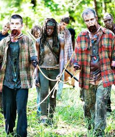 Michonne was quick to go back to her old ways. I was on edge with her being too close for comfort though. She apparently got sick of it and slaughtered em all!!!!! #cool