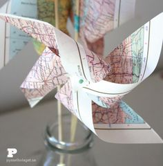 World Map Party Theme – Pretty Pinwheels Instead Of Flowers, Easy Crafts For Kids, Pinwheels, Fest, Map, Retirement, Pretty, Night, Travel