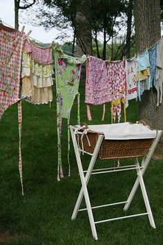 aprons on clothes line