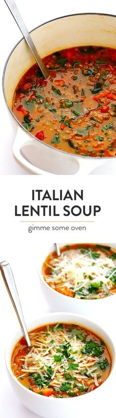 Italian Lentil Soup -- this delicious soup is easy to make, and so comforting! It's naturally vegetarian (or vegan), but feel free to add in Italian sausage if you'd like extra protein.   gimmesomeoven.com