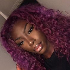 "Life, it's all laughable really"" purple hair black girl, sew in w Purple Hair Black Girl, Black Hair, Eye Makeup, Hair Makeup, Blonde Beach, Auburn, Curly Hair Styles, Natural Hair Styles, Lace Front Wigs"
