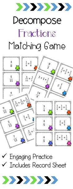 Fun game to practice decomposing fractions! Teaching Fractions, Math Fractions, Teaching Math, Maths, 4th Grade Games, Fourth Grade Math, Math Strategies, Math Resources, School Resources