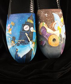 Hand painted Bob shoes with two Scenes from Peter Pan on Etsy, $165.00