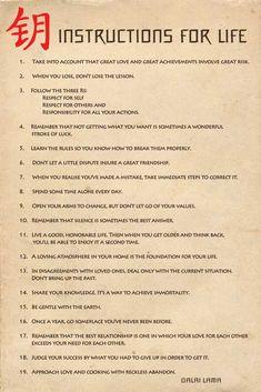 Afbeeldingsresultaat voor instructions for life