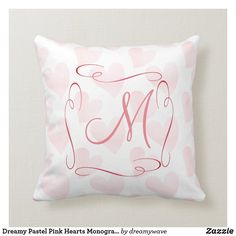 Dreamy Pastel Pink Hearts Monogrammed Throw Pillow Playroom Decor, Nursery Decor, Pink Hearts, Christmas Card Holders, Custom Pillows, Pastel Pink, Keep It Cleaner, Your Design, Kids Fashion