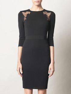 GIAMBATTISTA VALLI Lace Insert Knitted Dress Black Size XXS #431 #GIAMBATTISTAVALLI #Sheath #Casual