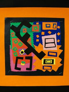 Da Vinci's Wings: Grade Collages Using Movement, Repetition and Contrast, Inspired by Henri Matisse Henri Matisse, Matisse Art, Matisse Cutouts, Hard Edge Painting, Primary And Secondary Colors, Elements And Principles, Art Projects, Children Projects, Project Ideas