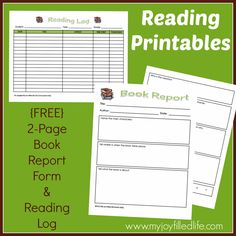 Reading Log & Book Report {FREE} Printables - My Joy-Filled Life