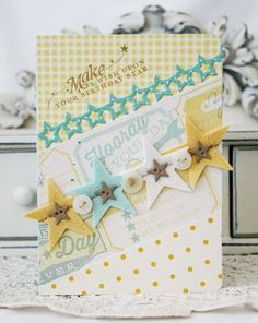 From Melissa Phillips in Caliente, Nevada, USA. etsy shop: Lily Bean Paperie Make A Wish Card for Papertrey Ink (April Scrapbooking, Scrapbook Cards, Handmade Birthday Cards, Greeting Cards Handmade, Star Cards, Baby Cards, Kids Cards, Card Tags, Creative Cards