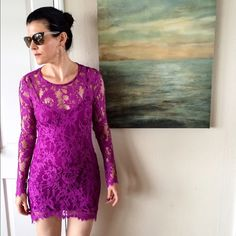 "NWT For Love and Lemons Maui Waui Lace Dress HOST PICK! Vacation Vibes, Total Trendsetter & Essential Style parties!!NO TRADES. OFFERS WELCOME. PLEASE USE THE OFFER BUTTON. I DO NOT NEGOTIATE PRICE IN THE COMMENTS. Gorgeous purple/orchid lace dress. Zips fully up back. Comes with matching slip. Never worn except for these pics. Size small. 40% cotton, 40% polyamide, 20% polyester. Hi-low length- 34"" in back, 31"" in front. 16"" across at bustline. This brand runs small and is not forgiving…"