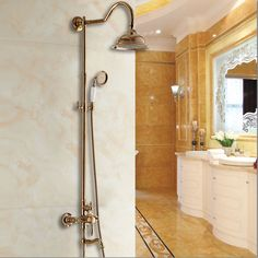 """Luxury Rose Golden Bathroom Shower System 8"""" Fixed Round Faucet Single Handle Tub Mixer W/ Hand Shower Free shipping! !YLS5859-C"""