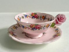 Rose Handled Paragon Tea Cup & Saucer by NicerThanNewVintage