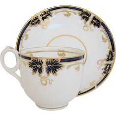 Fine Davenport Cup & Saucer, Bone China, Cobalt & Gold, Antique 19th C