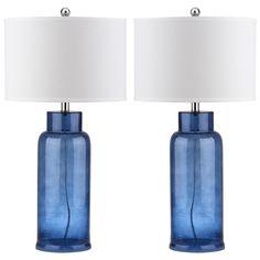 Safavieh Lighting 29-inch Blue Bottle Glass Table Lamp (Set of 2)