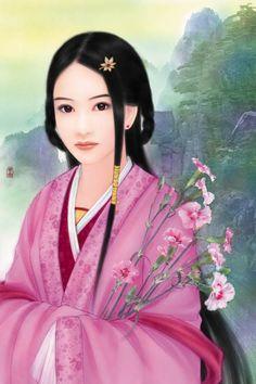 Post card art   (Chinese Hanfu Hairstyle 7)
