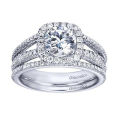 DIAMOND ENGAGEMENT RINGS - 14K White Gold 1.55cttw Split-Shank French Pave Set Round Diamond Engagement Ring With Cushion Shaped Halo