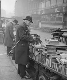 U.K. Farringdon Rd book market, London  1930's
