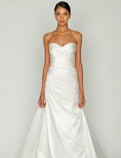 Sweetheart A-Line Wedding Dress with Dropped Waist in Satin. Bridal Gown Style Number:32335101