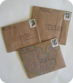 Love the idea of using brown paper bags as envelopes!