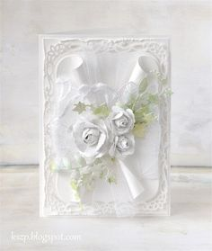 Klaudia / Kszp: White Another wonderful example of White on White: simple, classy and elegant. Wedding Day Cards, Wedding Cards Handmade, Wedding Anniversary Cards, Beautiful Handmade Cards, Card Making Inspiration, Making Ideas, Spellbinders Cards, Pretty Cards, Paper Cards