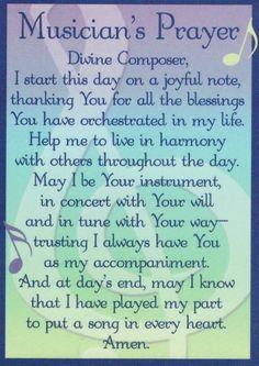 Musician's Prayer {M U S I C love} Pinterest Prayer